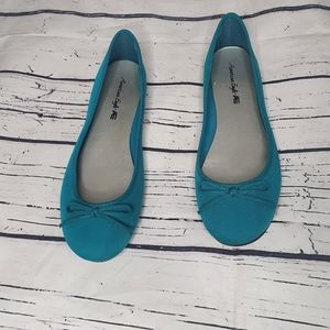 American Eagle Ballet Teal Flat Shoes Size 10